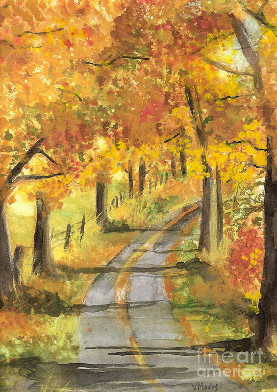 Fall Art Print featuring the painting Walkin by Vivian Mosley