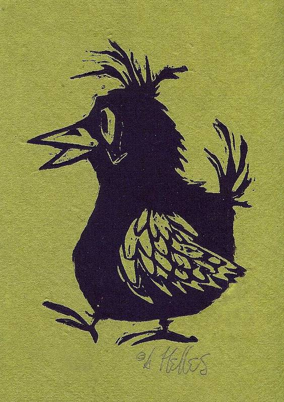 Bird Art Print featuring the painting Walking Bird With Green Background by Barry Nelles Art