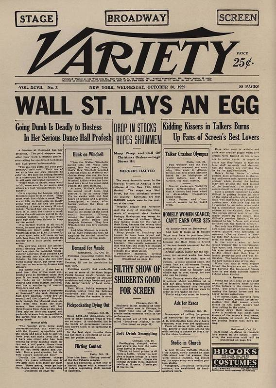 History Art Print featuring the photograph Wall Street Lays An Egg. Famous by Everett