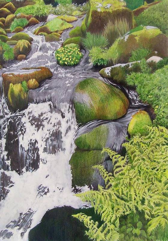 Waterfall Art Print featuring the mixed media Waterfall On Skye by Constance Drescher