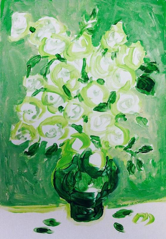 Roses Art Print featuring the painting White Roses by Hae Kim