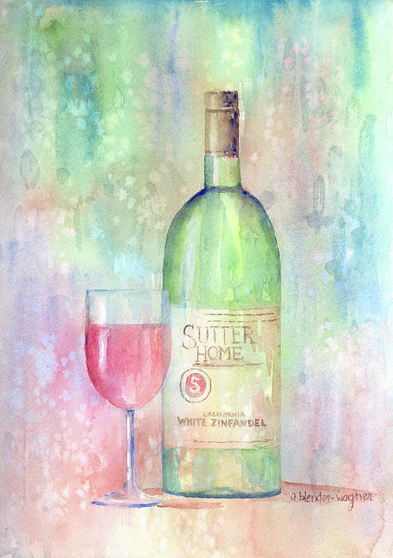 Wine Art Print featuring the painting White Zinfandel by Arline Wagner