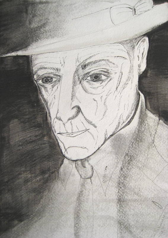 23 Author Black Burroughs Enigma Ink Man Music Painting Portrait Revolutionary Watercolor William Art Print featuring the painting William S. Burroughs by Darkest Artist