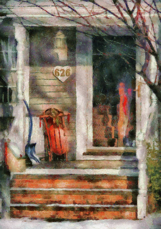 Savad Art Print featuring the photograph Winter - Rosebud And Shovel - Painted by Mike Savad
