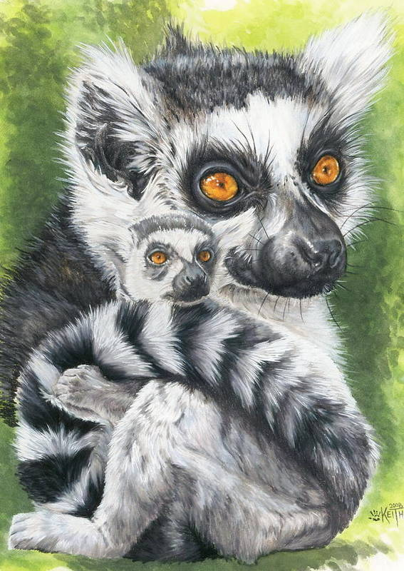 Lemur Art Print featuring the mixed media Wistful by Barbara Keith