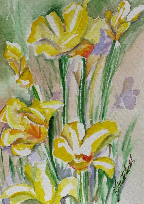 Floral Art Print featuring the painting Yellow Wild Flowers I by Kathy Mitchell