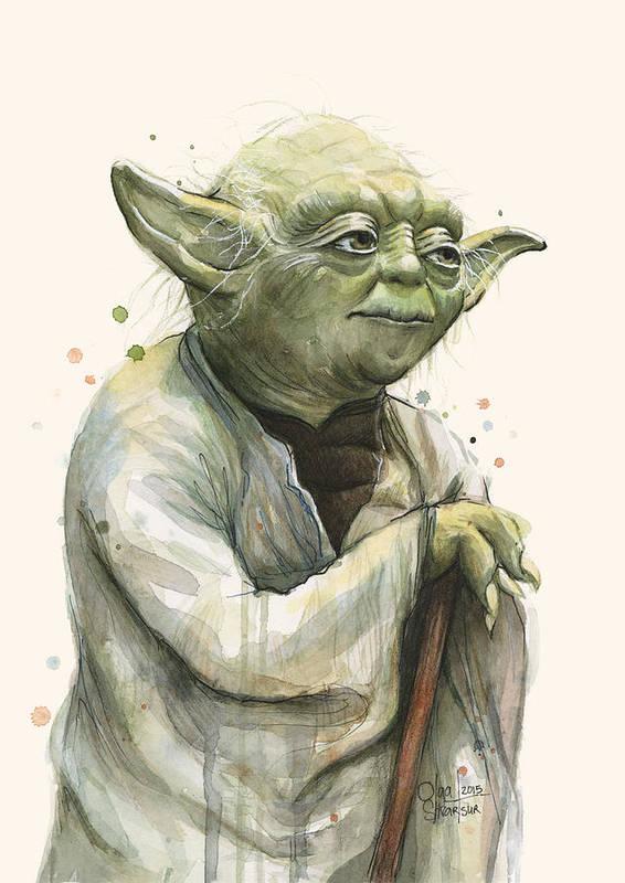 Yoda Portrait Art Print By Olga Shvartsur