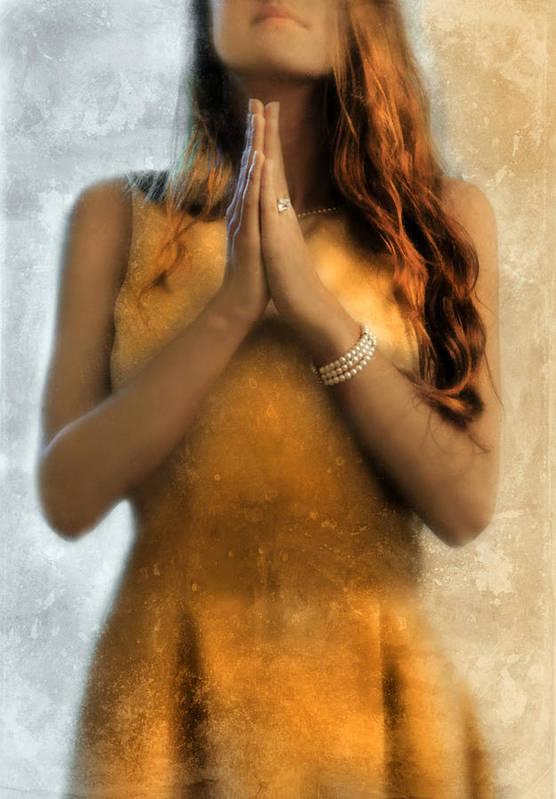 Young Print featuring the photograph Young Woman Praying by Jill Battaglia