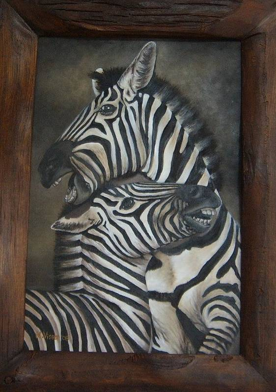 Zebras Art Print featuring the painting Zebras by Nellie Visser