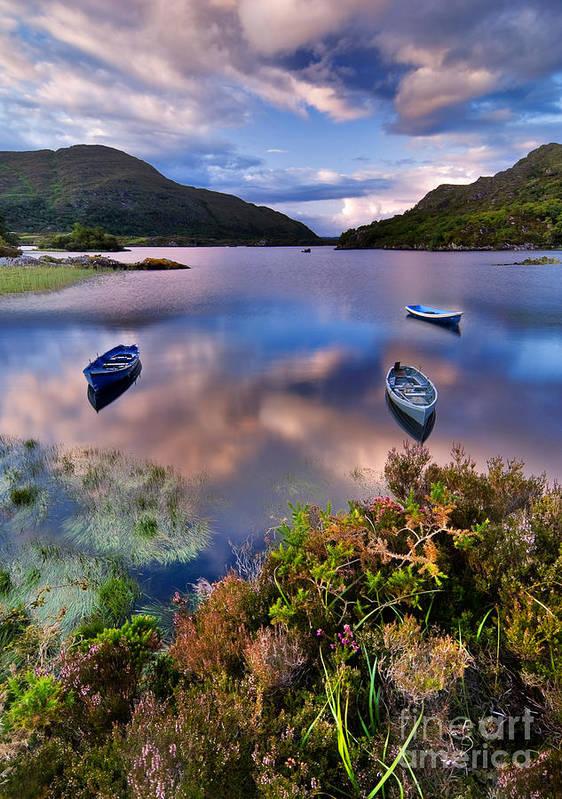 Pond Art Print featuring the photograph Boats On Water In Killarney National by Tiramisu Studio