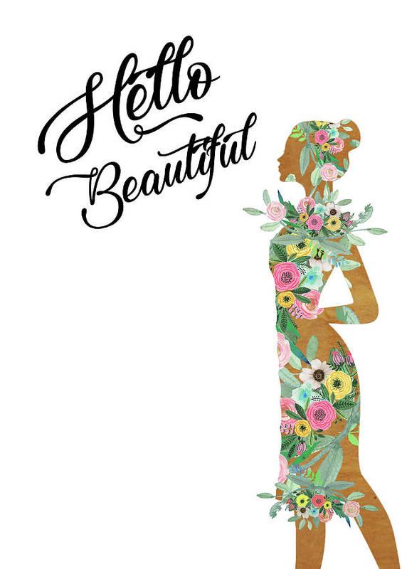 Woman Art Print featuring the mixed media Hello Beautiful by Claudia Schoen