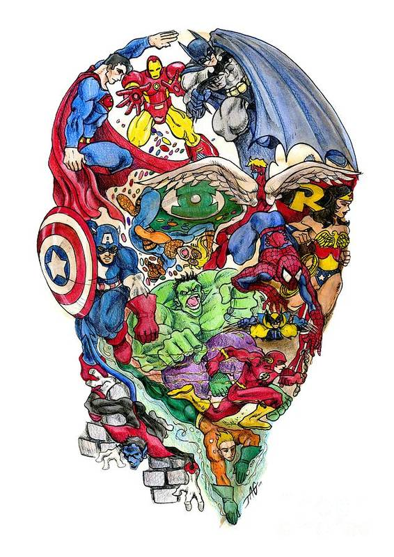 Superhero Art Print featuring the drawing Heroic Mind by John Ashton Golden