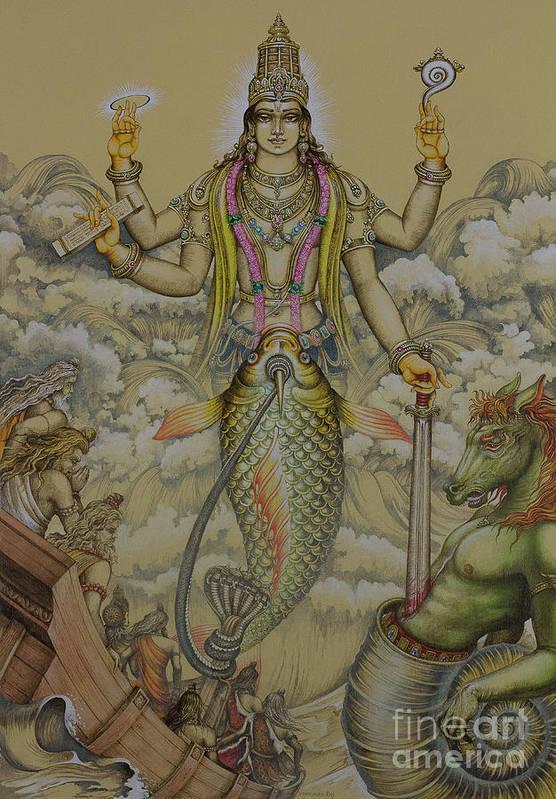 Matsya Art Print featuring the painting Matsya Avatar by Vrindavan Das