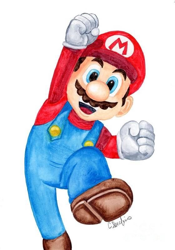 e813ec07603 Super Mario Art Print featuring the painting Super Mario Fan Art by  Caroline Serafinas