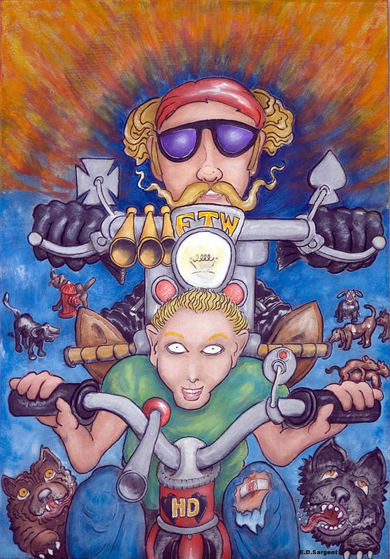Tricycle Art Print featuring the painting Born To Ride by Eddie Sargent