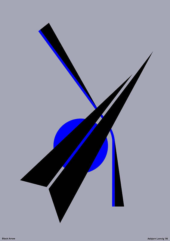 Black Arrow Art Print featuring the digital art Composition Black Arrow by Asbjorn Lonvig