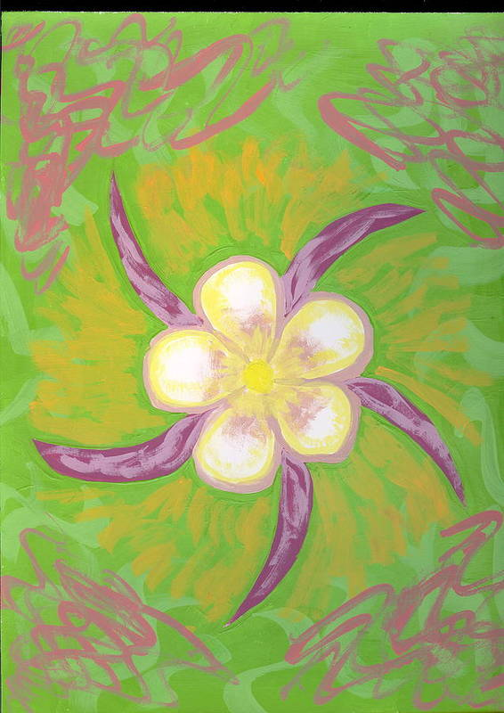 Flower Art Print featuring the painting Geisha by Laura Lillo