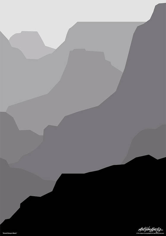 Grand Canyon Black Art Print featuring the digital art Grand Canyon Black by Asbjorn Lonvig