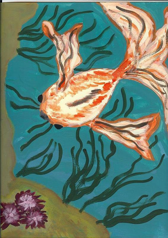 Fish Art Print featuring the painting Here Fishy Fishy by Laura Lillo