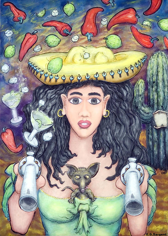 Senorita Art Print featuring the painting Hot Chilli's by Eddie Sargent