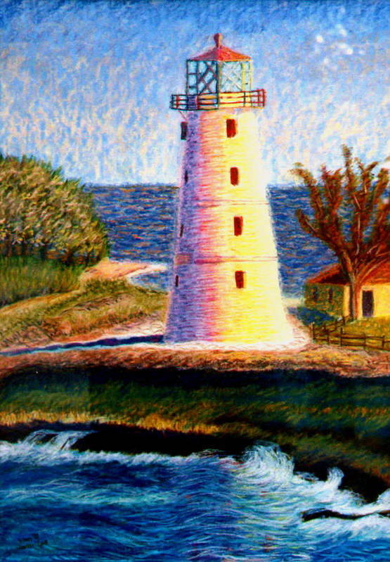 Lighthouse Art Print featuring the painting Lighthouse by Stan Hamilton