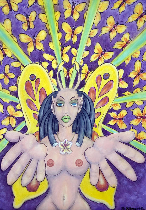 Nude Art Print featuring the painting Radiant Butterflies by Eddie Sargent