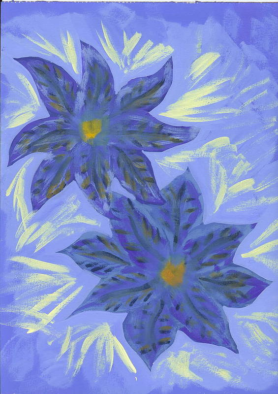 Flower Art Print featuring the painting Stormy Monday by Laura Lillo