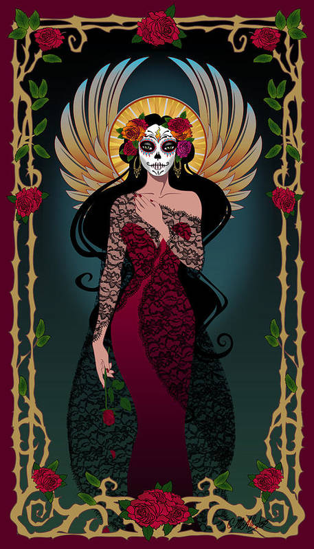 Dia De Los Muertos Art Print featuring the digital art La Rosa by Cristina McAllister