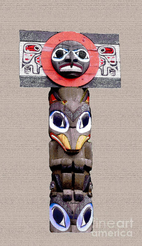 Eskimo Art Print featuring the photograph Vancouver Totem - 3 by Linda Parker
