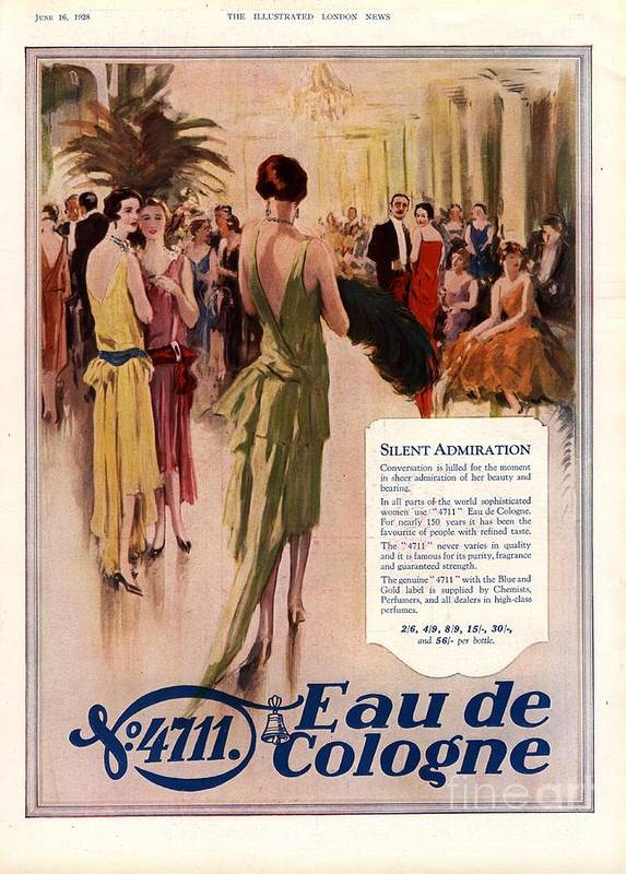 1920�s Art Print featuring the drawing 1928 1920s Uk 4711 Eau De Cologne by The Advertising Archives