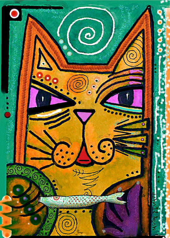 Moon Stumpp Art Print featuring the painting House Of Cats Series - Fish by Moon Stumpp
