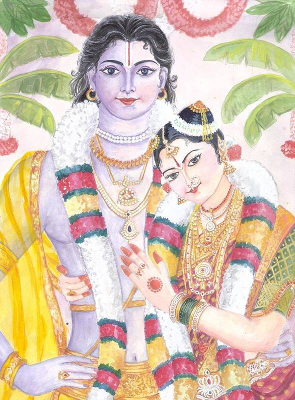 Andal Krishna Marriage. Andal Is Said To Be An Incarnation Of Bhumi Devi Print featuring the painting Andal Krishna by Parimala Devi Namasivayam
