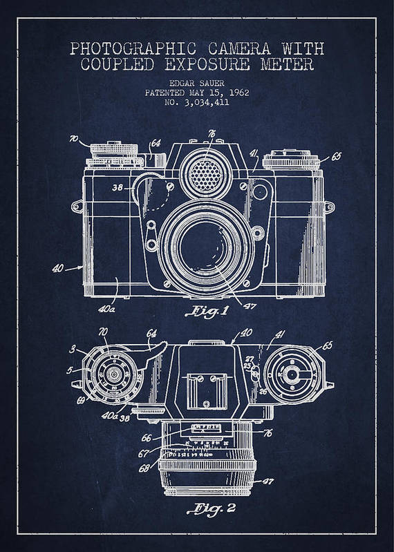 Camera Art Print featuring the drawing Camera Patent Drawing From 1962 by Aged Pixel