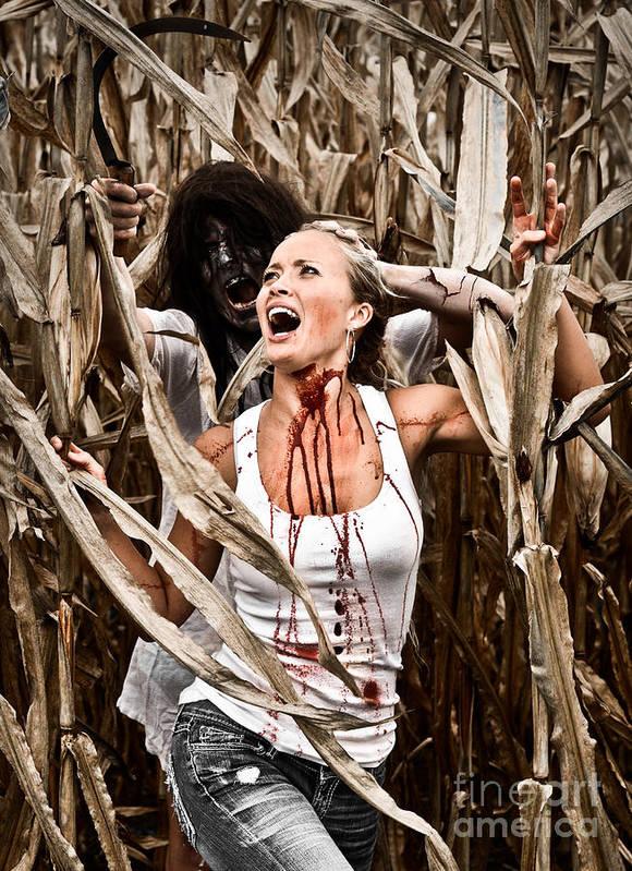 Cut Art Print featuring the photograph Corn Field Horror by Jt PhotoDesign
