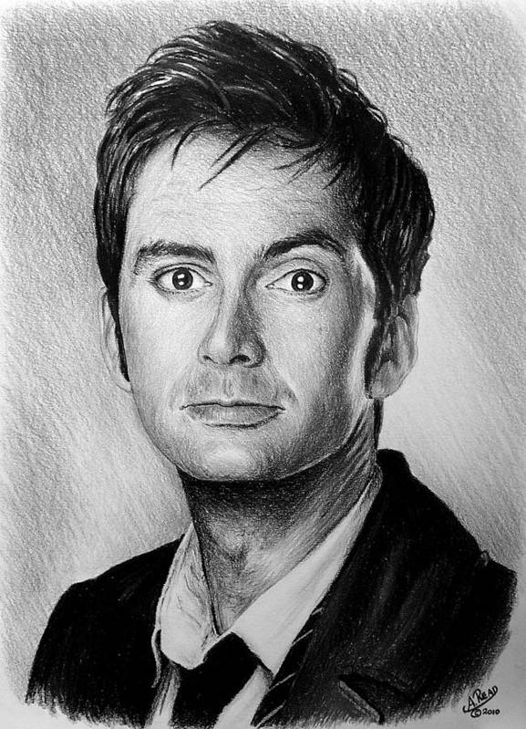 David Tennant Art Print featuring the drawing David Tennant by Andrew Read