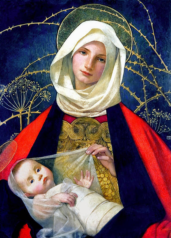 Madonna And Child Art Print featuring the painting Madonna And Child by Marianne Stokes
