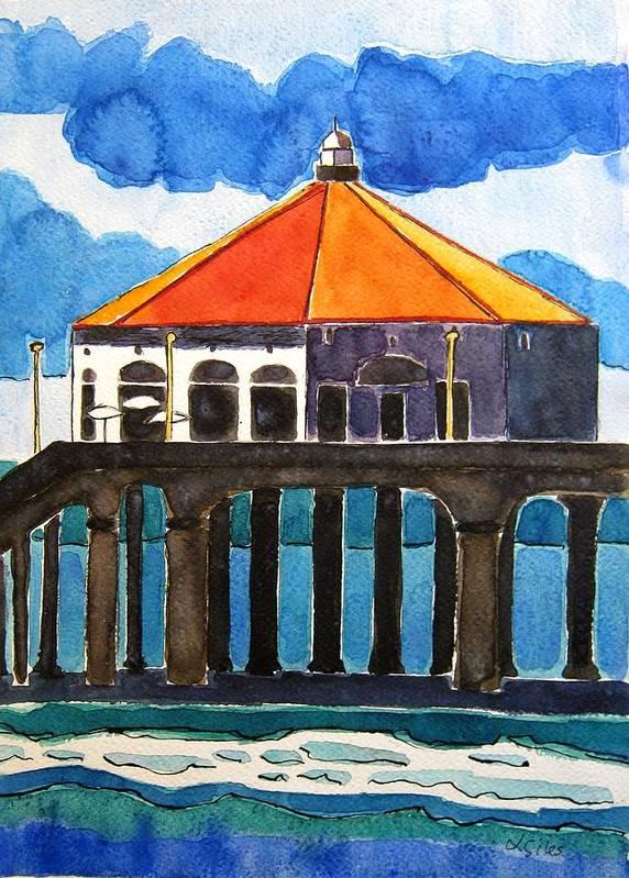 Manhattan Beach Art Print featuring the painting Manhattan Beach California by Lesley Giles