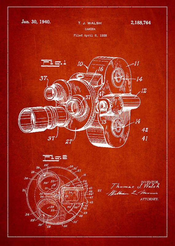 Camera Art Print featuring the digital art Vintage Camera Patent Drawing From 1938 by Aged Pixel