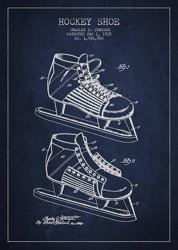 61beeb70ae146 Vintage Hockey Shoe Patent Drawing From 1935 Art Print