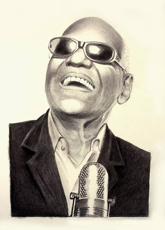 Portrait Drawing Art Print featuring the drawing Mr. Ray Charles by Ted Castor