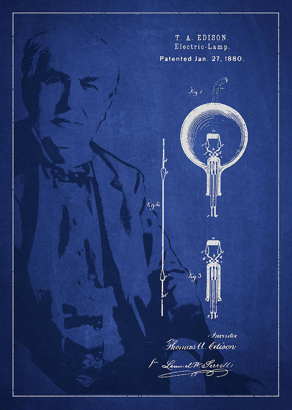 Thomas Edison Art Print featuring the drawing Thomas Edison Electric Lamp Patent Drawing From 1880 by Aged Pixel