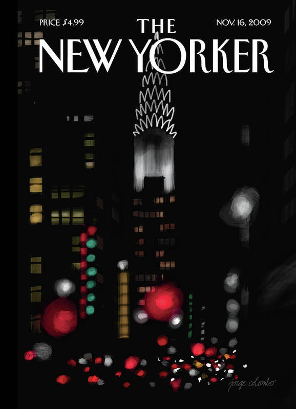New York Art Print featuring the painting Night Lights by Jorge Colombo
