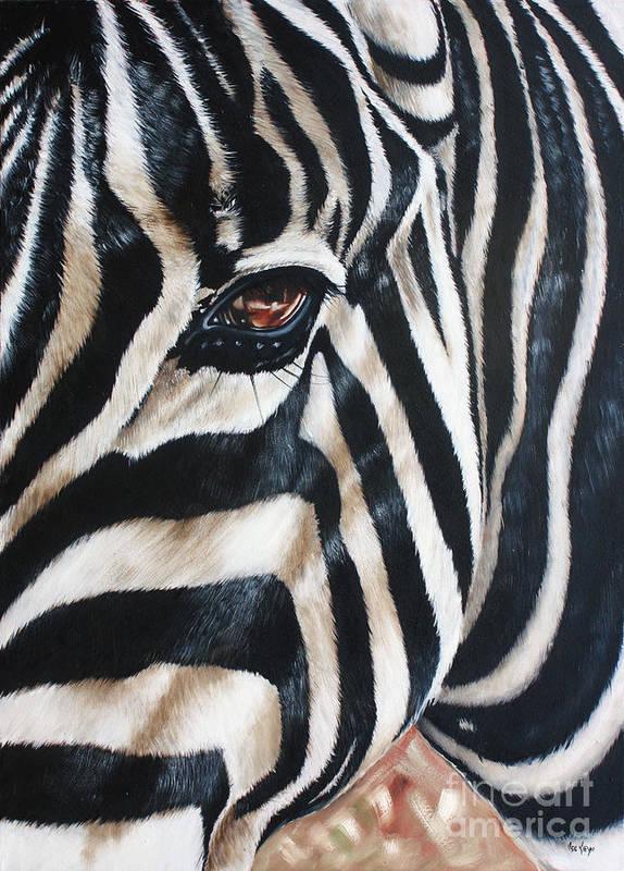 Zebra Art Print featuring the painting Zebra by Ilse Kleyn