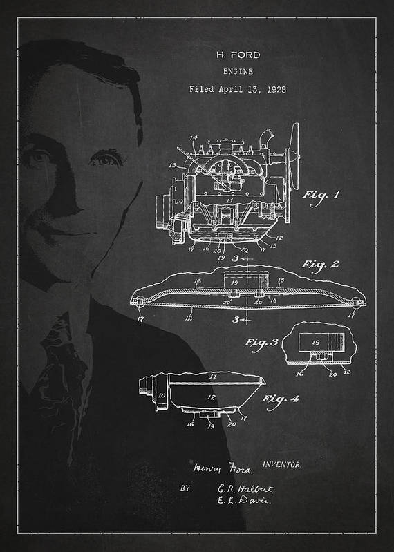 Henry Ford Art Print featuring the drawing Henry Ford Engine Patent Drawing From 1928 by Aged Pixel