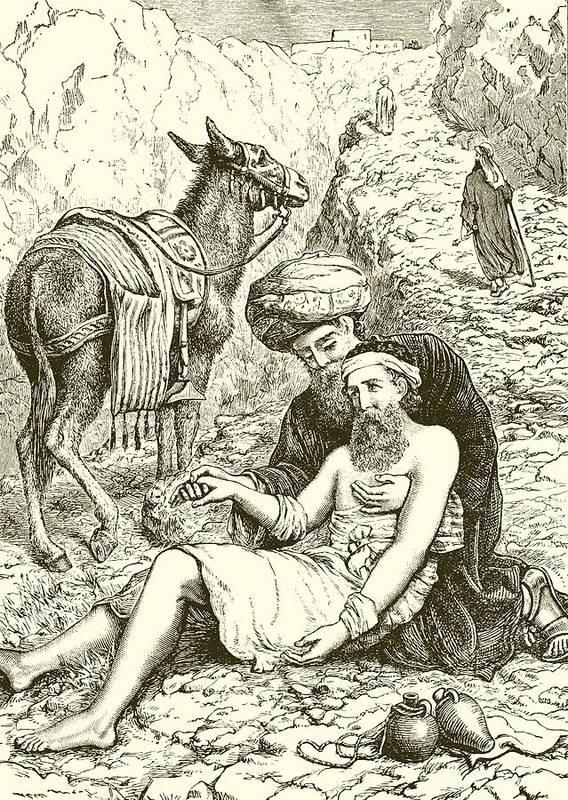 Bible Art Print featuring the drawing The Good Samaritan by English School
