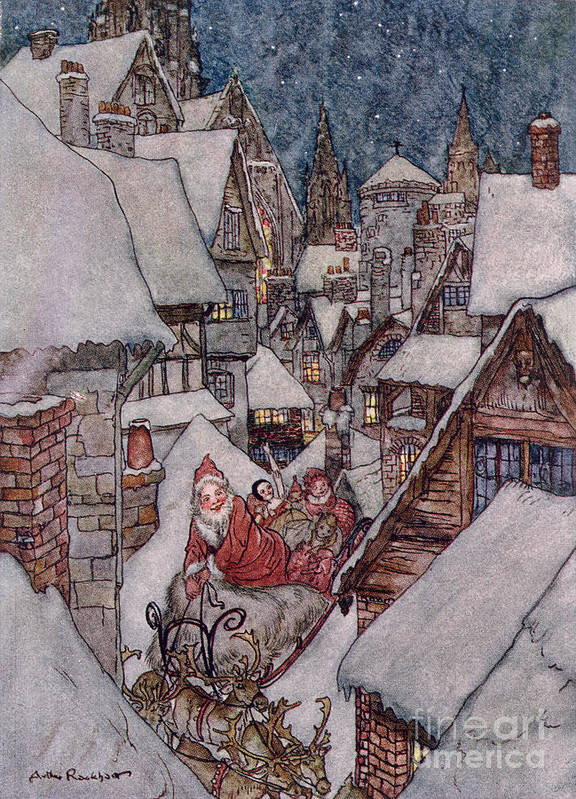 Christmas Illustrations Art Print featuring the drawing 'the Night Before Christmas by Arthur Rackham