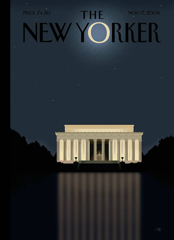 Lincoln Art Print featuring the painting New Yorker November 17th, 2008 by Bob Staake