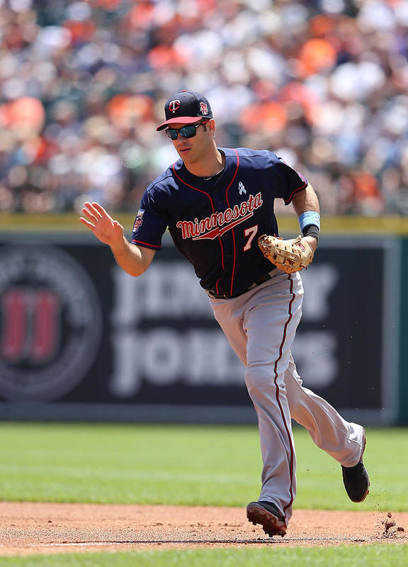 Joe Mauer Art Print featuring the photograph Minnesota Twins V Detroit Tigers 9 by Leon Halip
