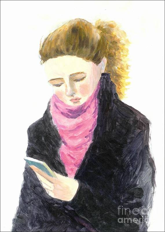 Texting Art Print featuring the painting A Woman Texting W Cell Phone by Jingfen Hwu