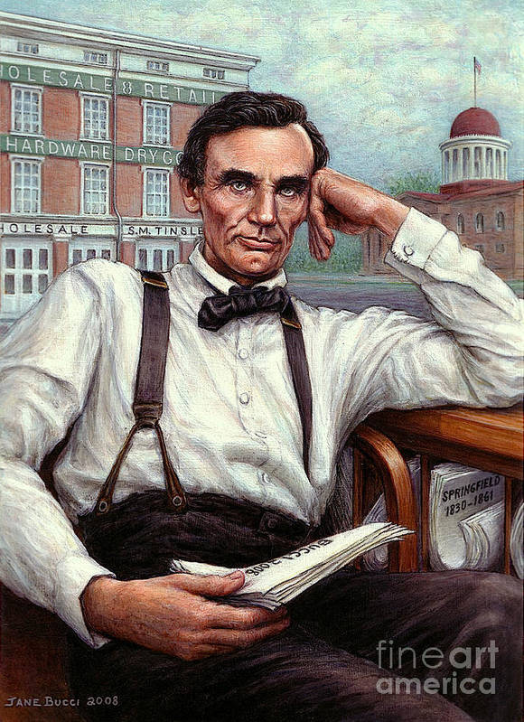 Occupy China Art Print featuring the painting Abraham Lincoln Of Springfield Bicentennial Portrait by Jane Bucci